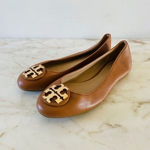 TORY BURCH Brown Leather Ballerina Flats Gold Logo